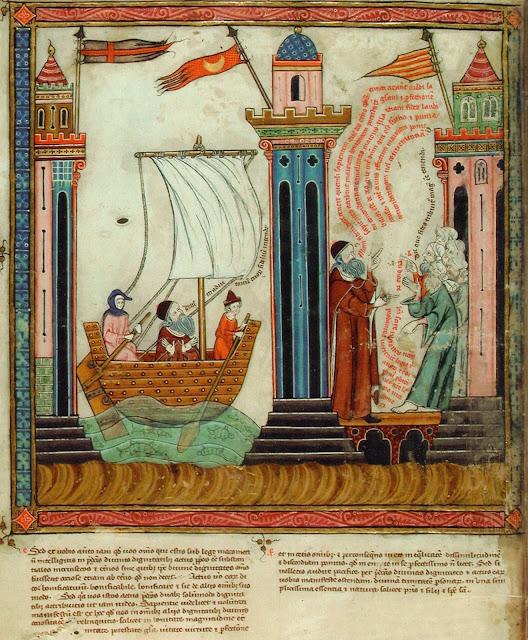 A l'esquerra figura la bandera de Gènova dalt de la torre, que veu salpar el filòsof en vaixell l'any 1293 amb 61 anys. A la dreta, arribat a Tunis, Ramon Rull discuteix amb els doctors de l'islam, entre la torre coronada amb la bandera del país i la torre amb la bandera quatribarrada que simbolitza les instal.lacions comercials i residencials que tenien els catalans.