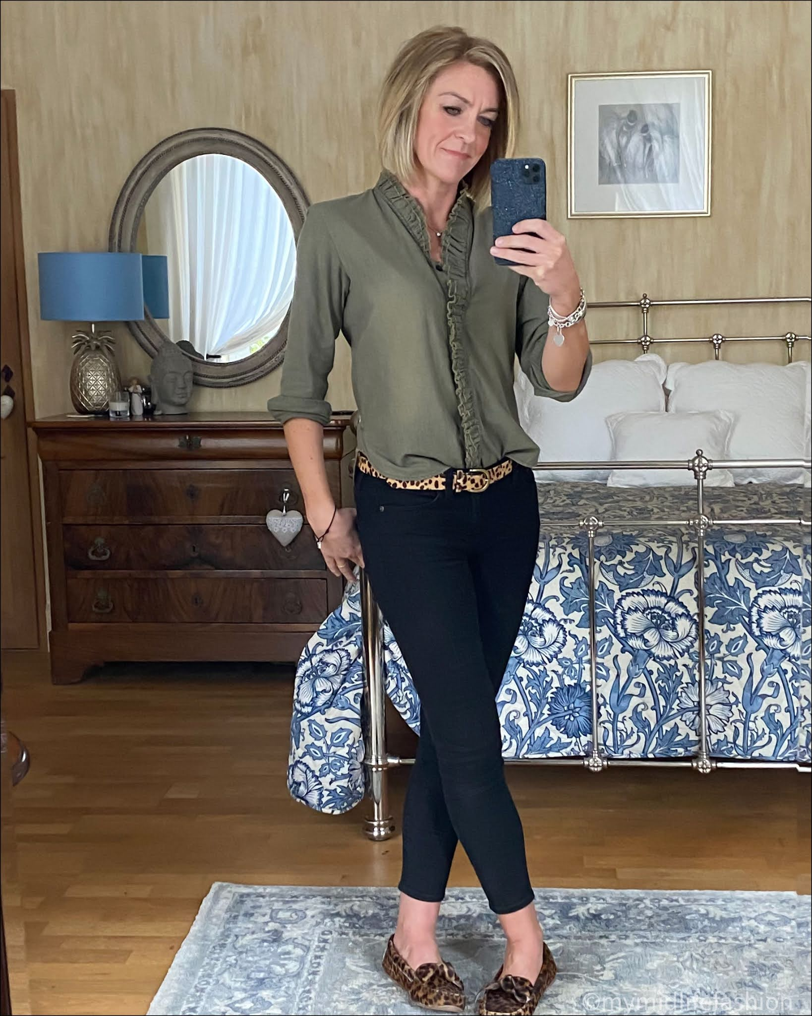 my midlife fashion, Isabel Marant Etoile ruffle chambray blouse, j crew pony skin leopard print belt, j crew 8 inch toothpick skinny jeans, Isabel Marant Etoile leopard print loafers