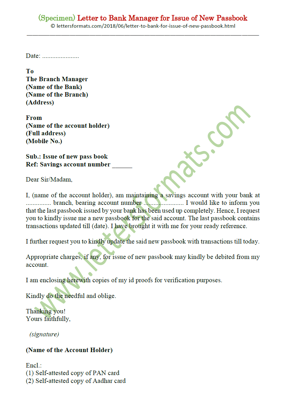 Letter to Bank Manager for Issue of New / Reissue of Passbook