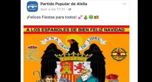 Agrupación del PP borra su felicitación navideña con símbolos fascistas