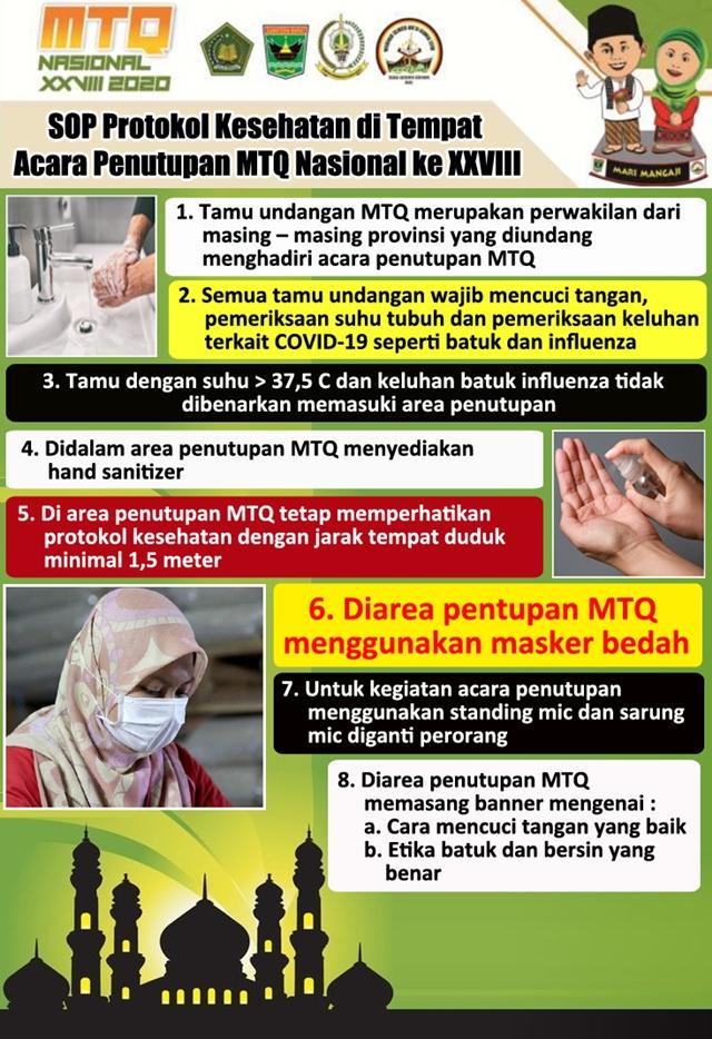 Infografis: SOP Protokol Kesehatan di Tempat Acara Penutupan MTQ Nasional ke XXVIII