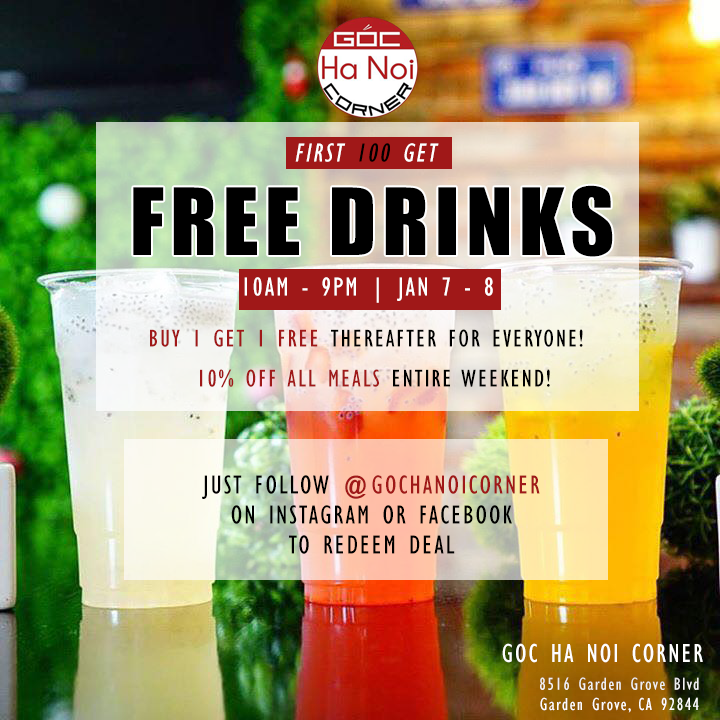 Jan 7 - 8 | Goc Ha Noi Corner Offers Free Drinks and Meal Discounts For All Customers