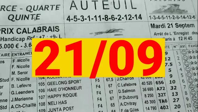 programme quinté+ Pronostic quinté Mardi 21/09/2021