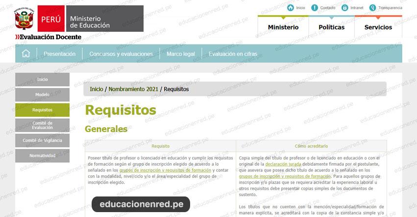 NOMBRAMIENTO DOCENTE 2021: Conoce los Requisitos que deben cumplir los Postulantes - MINEDU (R.VM. N° 291-2020-MINEDU) www.minedu.gob.pe