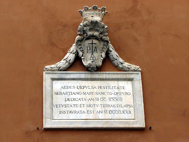 Dedication plaque on the facade of the San Sebastian church, Livorno