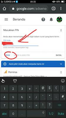 Contoh Cara Verifikasi PIN Adsense Youtube melalui HP Android