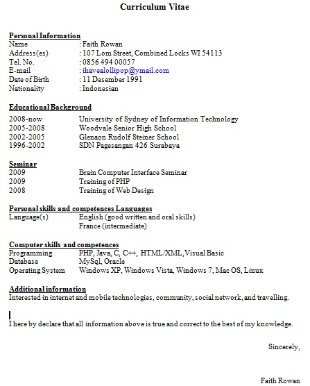 Contoh Resume Lamaran Kerja Yang Baik Membuat Resume Contoh Temuduga