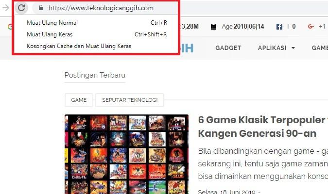 Opsi Tersembunyi di Tombol Reload Google Chrome