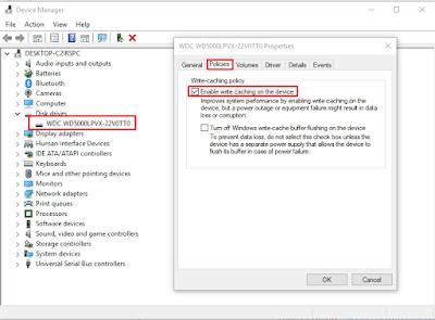 Cara mengaktifkan disk write caching
