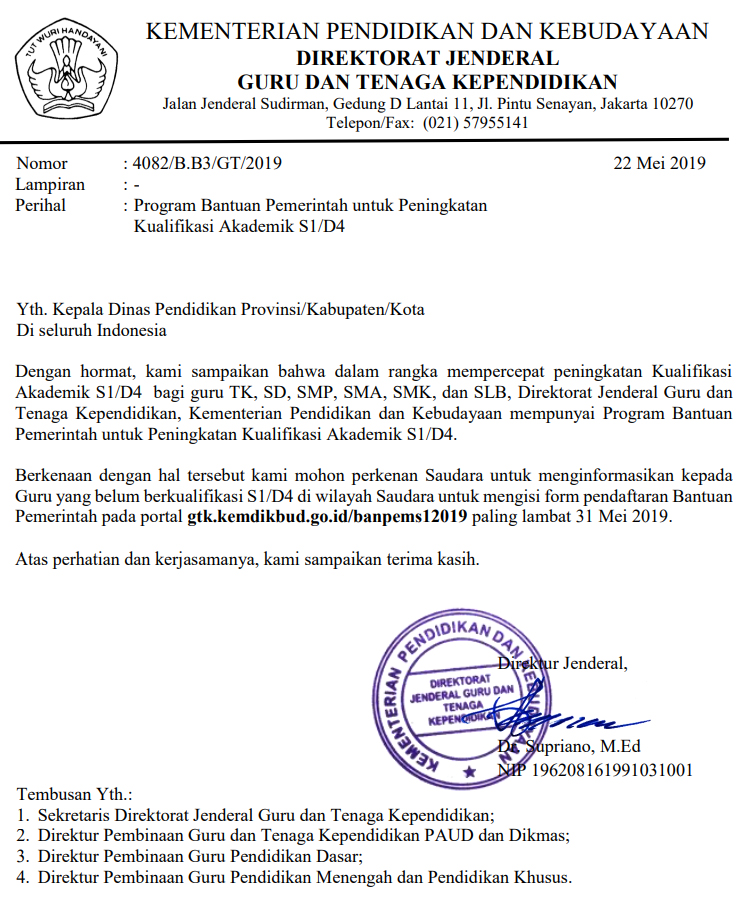 Surat Edaran Resmi Program Bantuan Pemerintah Untuk