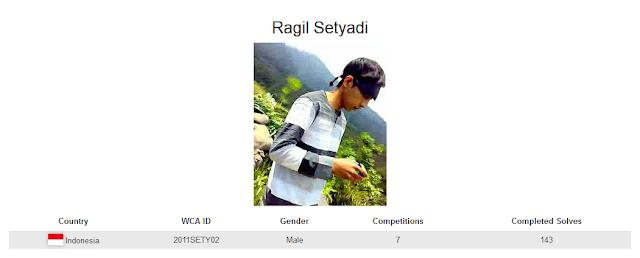 Profile akun WCA dari Ragil Setyadi yang merupakan peringkat ketiga nasional dalam menyelesaikan rubik 4x4 dengan mata tertutup.
