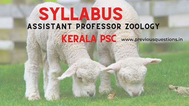 Syllabus of Assistant professor Zoology Kerala collegiate education