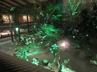 啄木亭 中庭のライトアップ