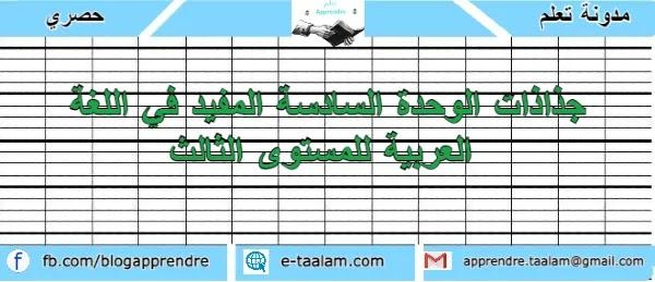 جذاذات الوحدة السادسة المفيد في اللغة العربية للمستوى الثالث ابتدائي 2021