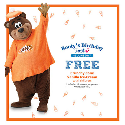 A&W Rooty's Birthday Treat Free Crunchy Cone Vanilla Ice-Cream