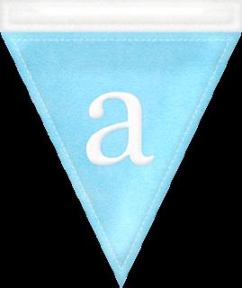 Alfabeto en Banderines de Color Pastel.