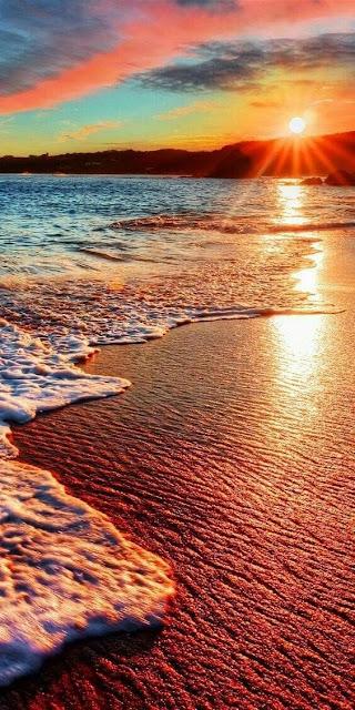 wallpaper Android 720x1280, riva del mare, tramonto