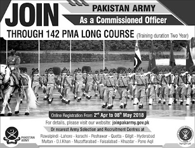 PMA Long Course registration open.Join Pak army as major and caption through asrc.