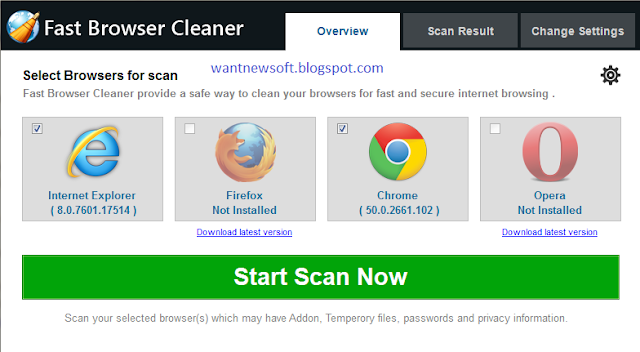 Fast Browser Cleaner giveaway wantnewsoft.blogspot.com image