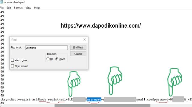 Kode Registrasi, Username, dan password Dapodik sudah ditemukan