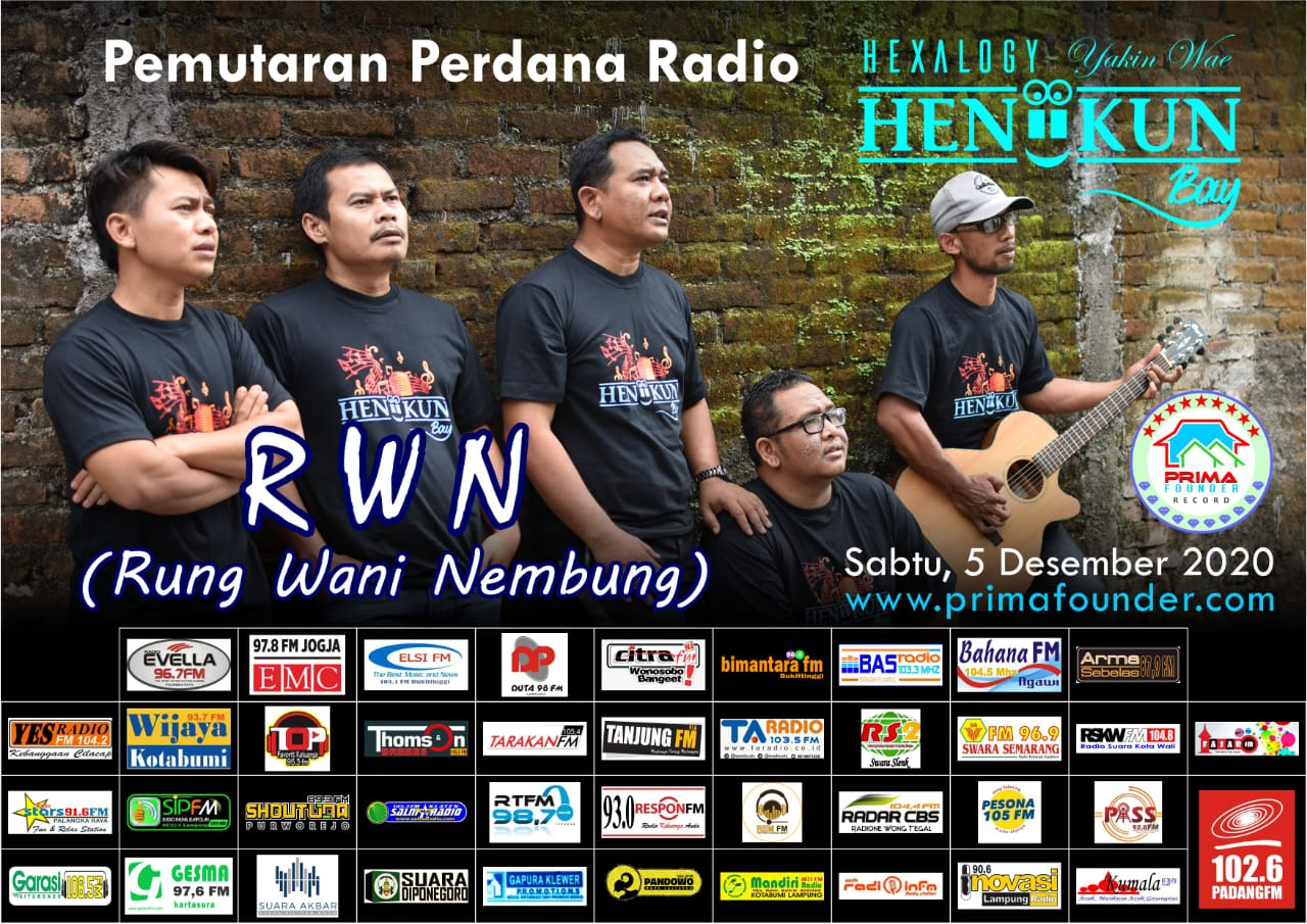 Flyer Heniikun Bay Rilis lagu Rung Wani Nembung di 41 Radio se-Indonesia.