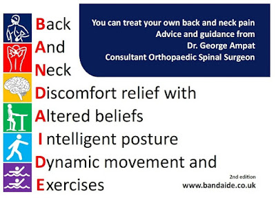 self help book, treat your neck and back pain, avoid surgery for neck and back pain, exercises for back and neck pain, quick and easy read, lot of illustrations, george ampat, ortho advice back pain,