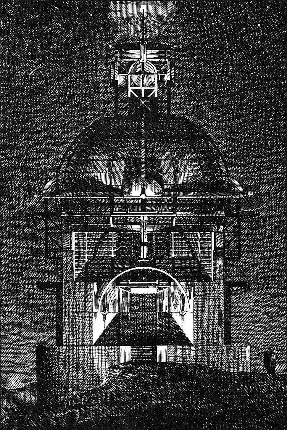 a Lebbeus Woods drawing of a night scene