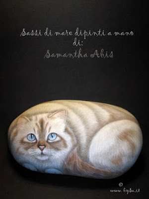 Sassi gatti dipinti a mano prezzi fermacarte