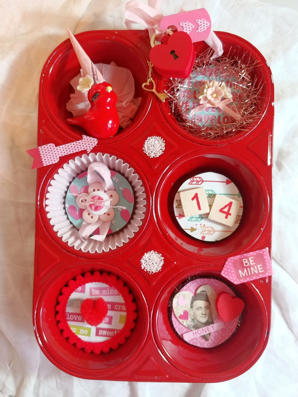 muffin tin altered for Valentine's Day