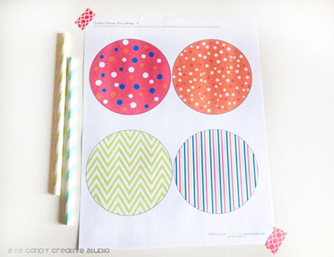 printed download of drink umbrellas, stripes, chevron, polka dots, stars