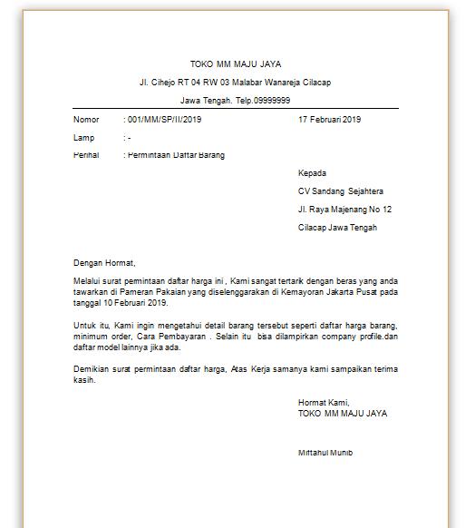 contoh surat official style