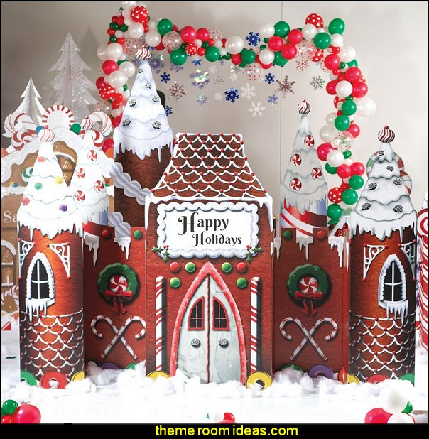 Frosted Holiday Castle  candy Christmas theme decorating - candy themed christmas decorations - christmas candyland decorations -  candy ornaments -  candy shaped holiday ornaments - candy themed Christmas decor -