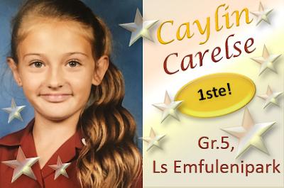 Met die aanbieding van haar toespraak, onder die tema LETTERS, kry Caylin Carelse, Gr.5 die EERSTE plek in die redenaarskompetisie by Laerskool Emfulenipark in Vanderbijlpark! Mooi Caylin!!