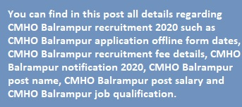 CMHO Balrampur 42 Posts recruitment 2020