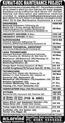 KOC Kuwait Maintenance project jobs
