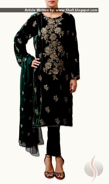 Embroidered Velvet Dress Collection