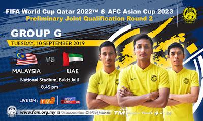 Live Streaming Malaysia vs UAE (Kelayakkan Piala Dunia) 10.9.2019