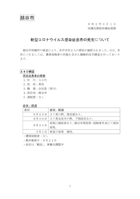 新型コロナウイルス感染症患者の発生について(9月1日発表)