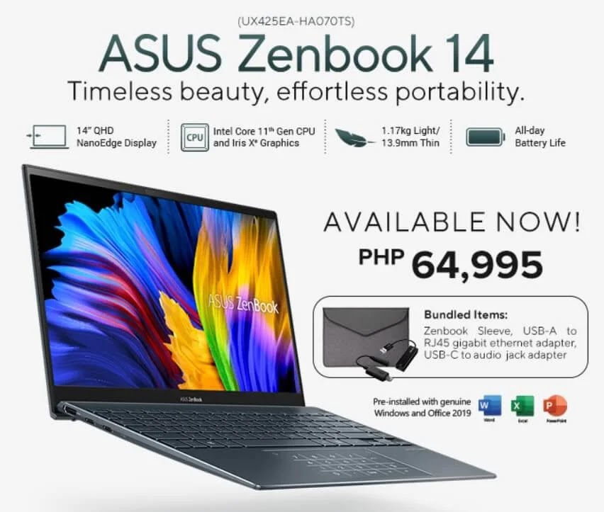 The all-new ASUS ZenBook 14 (UX425EA) provides power to professionals on the go for only Php64,995