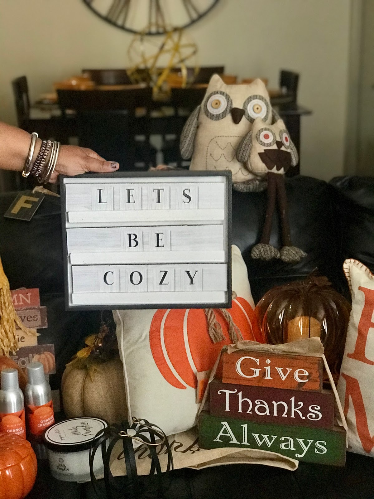 Image: Tangie Bell sharing all the Fall items she will be using to decorate for the Holiday season. Let's get cozy sign, owl pillows, pumpkin candles, room sprays, Seen first on Bits and Babbles blog. Traditions. I Guess Owl Get In A Fall Howling Mood!