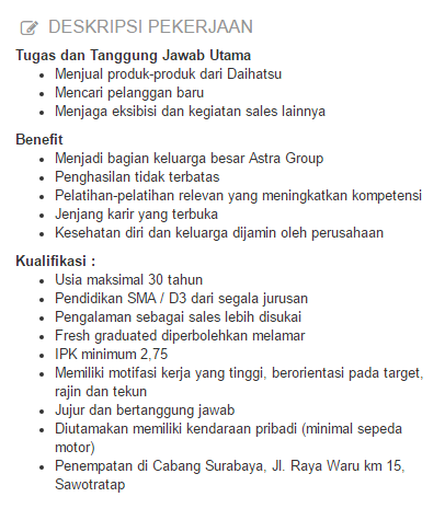 Info Lowongan Kerja PT Astra International Tbk Terbaru 2020
