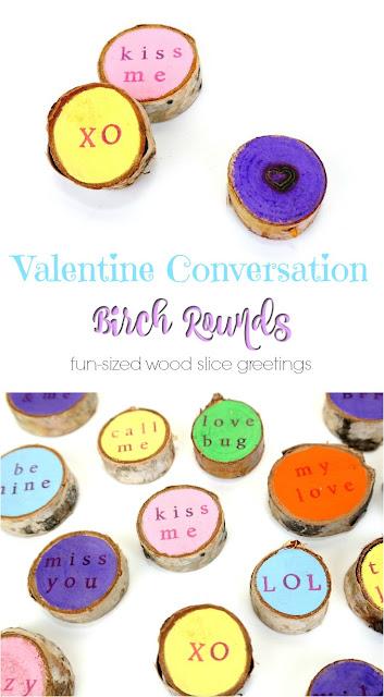 Mini Valentine Conversation Birch Rounds Tutorial by Dana Tatar - Fun-Sized Wood Slice Greetings