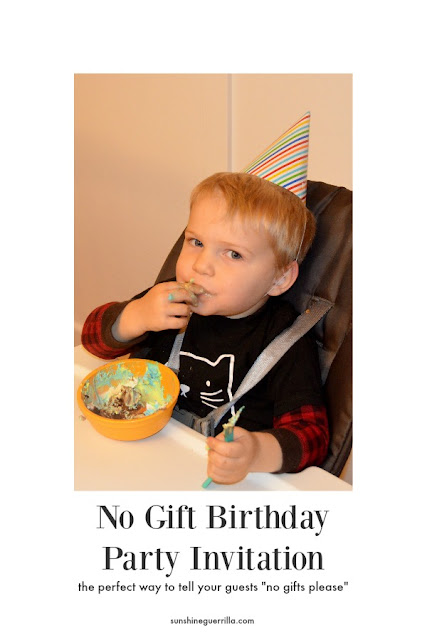 how to word the invitation to a no gift birthday parties for kids