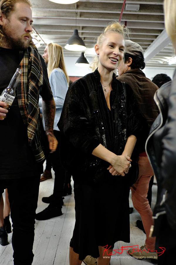 Black velvet beaded jacket and black dress.Photo by Kent Johnson for Street Fashion Sydney.