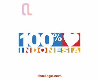 Logo 100% Cinta Indonesia Vector Format CDR, PNG