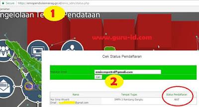 gambar cek status pendaftaran emis pendis 2017