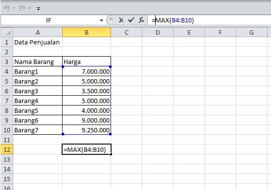 cara mencari nilai tertinggi di Excel