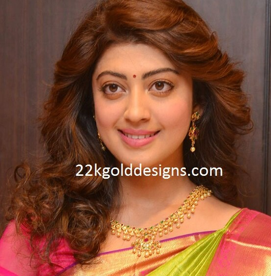 Pranitha Subhash in Pachi Gemstone Necklace