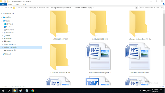 Download Buku Administrasi PAUD TK KB TPA SPS dan RA Terbaru