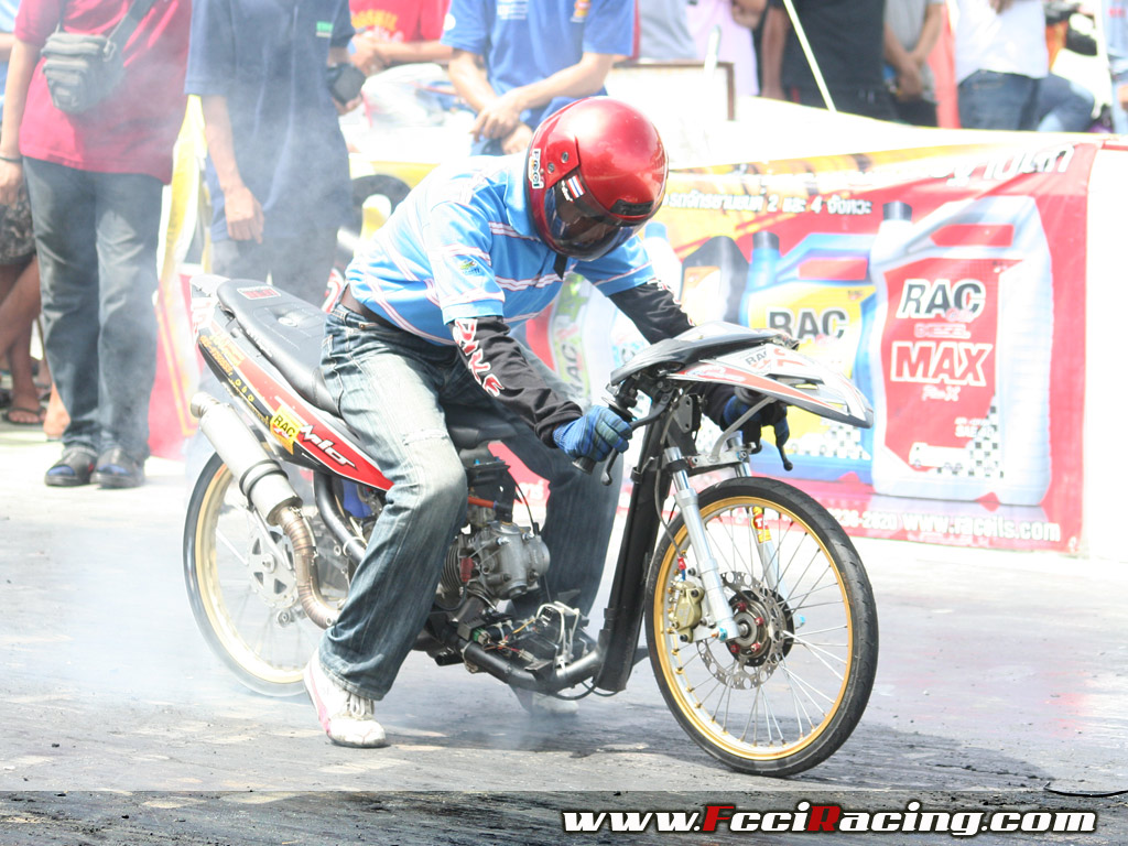 Burn Out And Ready To Start Drag Bikes Race By FCCI Racing Best
